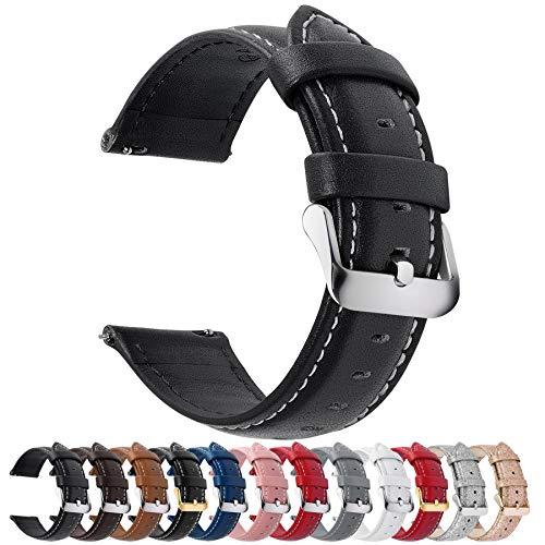 時計バンド ベルト、Fullmosa 全12色スマートウォッチバンド ベルト 腕時計バンド 交換ベルト本革 レザー 24mm ブラック