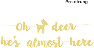 Oh Deer Baby Shower Decorations Oh Deer He's Almost Here Banner Pre-Strung Woodland Fall  Boy Baby Shower Gender Reveal Party Supplies Decorations