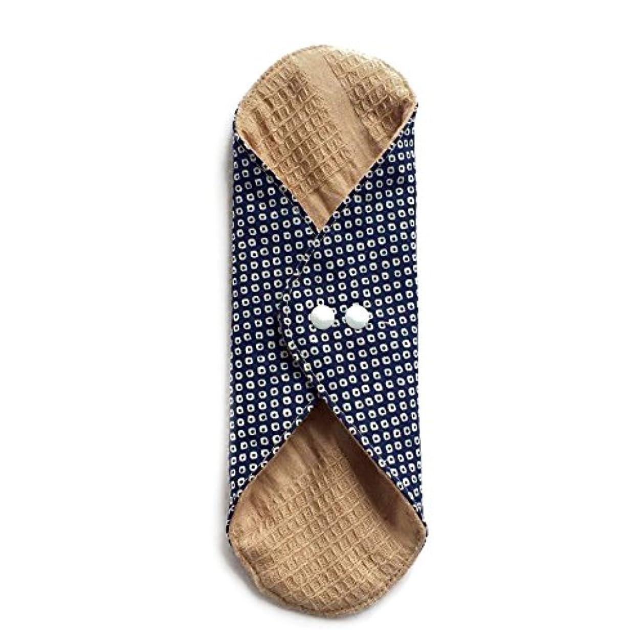 うなずく石置換華布のオーガニックコットンのあたため布 Lサイズ (約18×約20.5×約0.5cm) 鹿の子(紺)