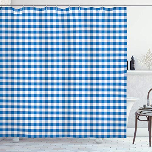 heigudan Checkered Shower Curtain, Monochrome Gingham Checks Classical Country Culture Old Fashioned Grid Design, Cloth Fabric Bathroom Decor Set with Hooks Blue White
