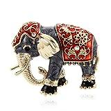 TOOGOO Accessoires de Vetement charmants Broche en Strass Broche en Email Bijoux de Mode Forme d'animal d'elephant Rouge