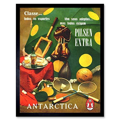 Wee Blue Coo Advert Bier Sport Tennis Boksen Pilsen Extra Antarctica Art Print Ingelijste Poster Muurdecoratie 12X16 Inch