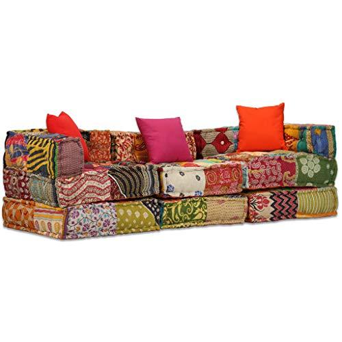 vidaXL Pouf 3-Sitzer Modular Patchwork Stoff Sitzpouf Sofa Couch Schlafsofa