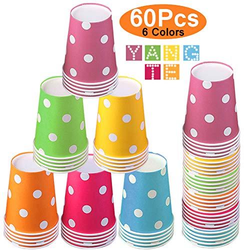 YANGTE 60 Stück Einweg Pappbecher Partybecher, 250ml Multicolor Biologisch Abbaubar Becher für Hochzeit, Kinder DIY, Partybedarf, Kaffee, Tee, Heißen und Kalten Getränken
