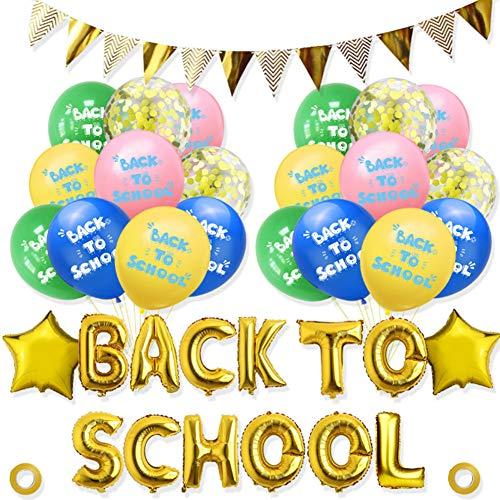 Kit de Decoraciones de pancartas - WENTS 39PCS Banner publicitario de Regreso a la Escuela Bienvenido a la Escuela Globos de látex para el Primer día de Decoraciones Escolares artículos