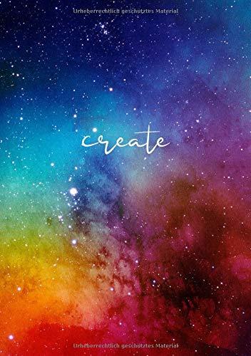 BLANKO NOTIZBUCH DIN A5: Journal zum Selbstgestalten oder als Zeichenbuch, Skizzenbuch, Blankobuch, Malbuch | 100 Seiten leer | Weißes Papier | Weltraum Farben | Create
