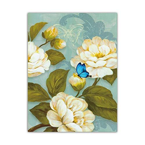 sjkkad Witte bloemen en blauwe vlinders foto's canvas muurkunst schilderij woonkamer woonomgeving Scandinavische prints poster stijl-50x70 cm geen lijst