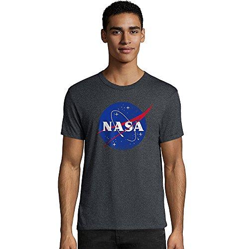 Hanes NASA - playera gráfica para hombre, Nasa Meatball/Slate Heather, X-Large