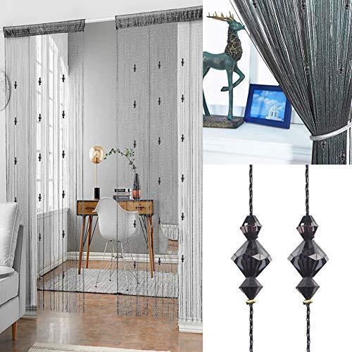 Kristallperlen String Quaste Vorhang – Trennwand Tür Vorhang Perlenvorhang Tür Paravent Home Decor Teiler Kristall Quaste Bildschirm 90 x 200 cm (Schwarz-3)