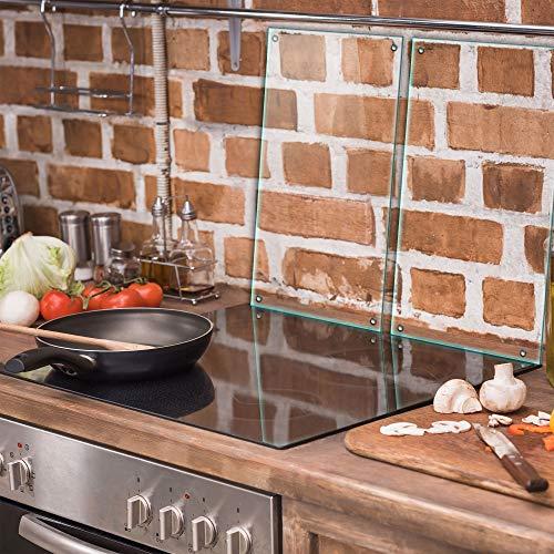 TMK   Herdabdeckplatten Set 2x30x52 cm Ceranfeld Abdeckung Glas Spritzschutz Abdeckplatte Glasplatte Herd Ceranfeldabdeckung transparent - durchsichtig
