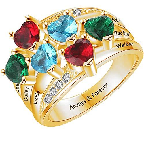 Personalizzato 1-6 Cuore Birthstone Family Ring Inciso Nome E Testo 925 Anello Madre In Argento Anniversario Compleanno San Valentino Ideale Per Le Donne(Oro-9.25)