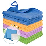 8PCS Premium Microfiber Cloth - Lint Free-Micro Fibers Towels for House, Kitchen, Car, Glass, Stainless Steel, Window, Microfiber Cleaning Cloth-Reusable-Absorbent, 2PCS Screen Cloth as Gift