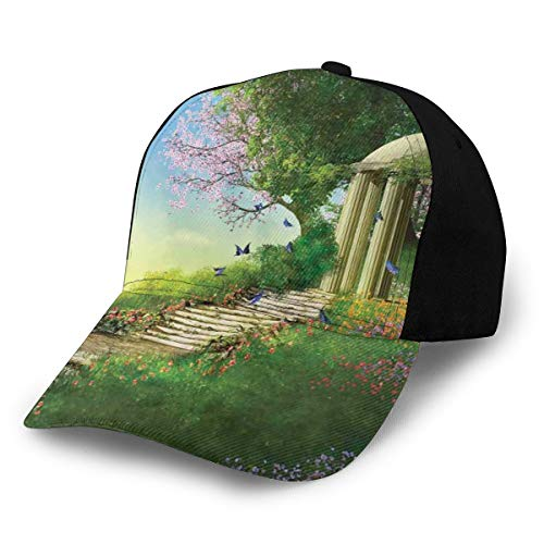 Hip Hop Sun Hat Baseball Cap,Gazebo At The Top of A Hill with Stone Stairs and Flowers Magical Medieval Land,For Men&Women