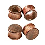 Crdifu 2 Paar Ohr Plug Flesh Tunnel Set aus Holz Double Flared Ohr Expander Piercing Schmuck(8-20mm)