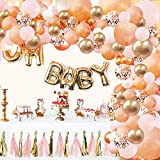 Rose Gold Balloon Garland Arch Kit - 124 Pieces/PCS Rose Gold Pink White and Gold Confetti Latex Balloons for Baby Shower Wedding Birthday Graduation Anniversary Party Background Decorations