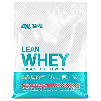 Optimum Nutrition Lean Whey Protein Powder, Low Fat, Sugar Free Lean Protein with Vitamins and Minerals, Strawberry & Cream, 740 g, 32 Servings, Packaging May Vary