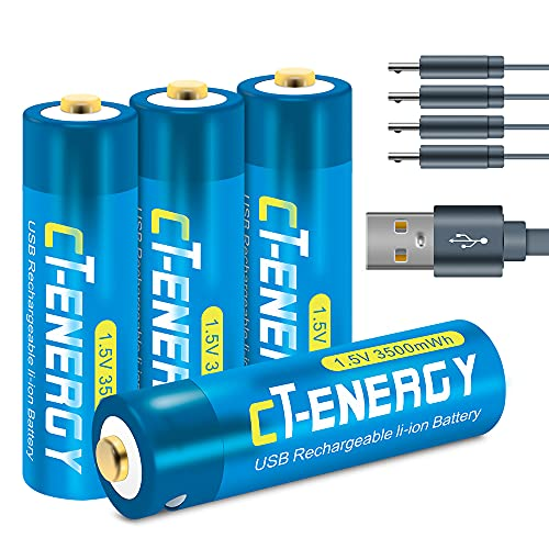 Usb AA Battery-1.5V 3500mWh Rechargeable Batteries AA- USB Cable Charger Long Life Span in AA Rechargeable Lithium Batteries (4 Pack)