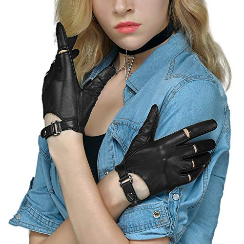 Fioretto Womens Driving Leather Gloves Touchscreen Motorcycle Leather Gloves Unlined