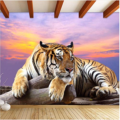 N/ A Decorative Mural- Custom Photo 3D Tiger Mural Wallpaper for Living Room Sofa Tv Background Animal Wall Paper-280X200Cm