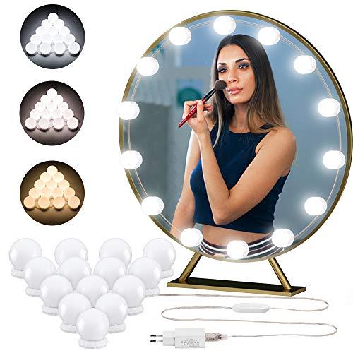 Quntis 4,3m Led Spiegelleuchte mit 14er dimmbare LED Lampen, 3 Farben einstellbare Hollywood Stil Schminktisch Beleuchtung mit USB Kabel und USB Netzteil, Schminklicht für Kosmetikspiegel, Badzimmer