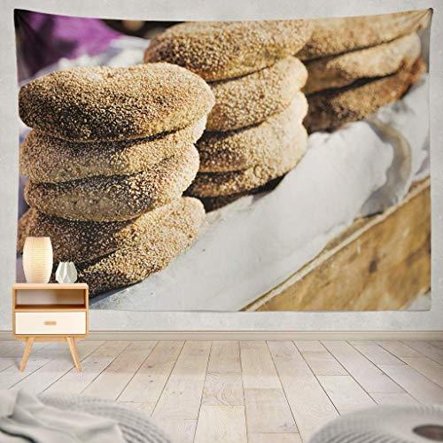 Duanrest Wandteppich,Typische traditionelle marokkanische Samen Street Food Stall Marokko Brot Marokko Afrikanische Bäckerei Country Food Food Wandteppich für zu Hause 229x152cm