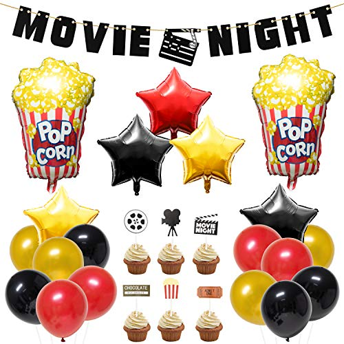 BeYumi 45Packs Movie Night Theme Party Decorations Kit - Popcorn Star-Shaped Foil Balloons, Latex Balloons with Ribbon, Movie Night Felt Banner, Cupcake Toppers Set for Hollywood Oscar Awards Ceremony