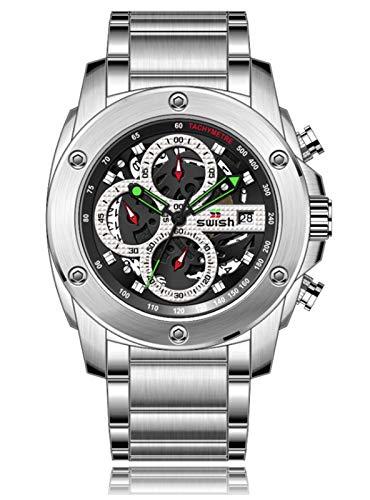 MLHXHX Relojes de hombre, relojes multifunción, relojes de personalidad casual, moda y popular estudiante correa de acero relojes de cuarzo plata