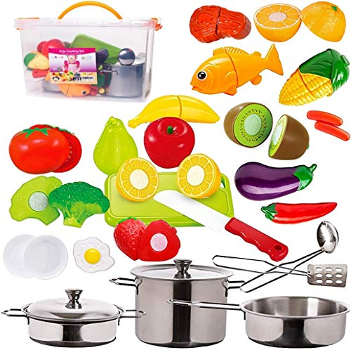 Pretend Play Food Fruits & Vegetables - Stainless-steel Toy Kitchen Pots and Pans with Utensils for Kids - Adorable Storage Bin - Includes Cuttable Play Veggies, Meat, Fish - Knife & Cutting Board