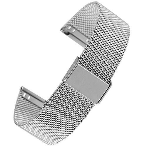DFKai1run Correa de acero inoxidable, 18MM 20MM 22MM de malla de acero banda de reloj exquisito de la correa Relojes 24MM con el gancho de reemplazo de la hebilla de pulsera banda de primera calidad D