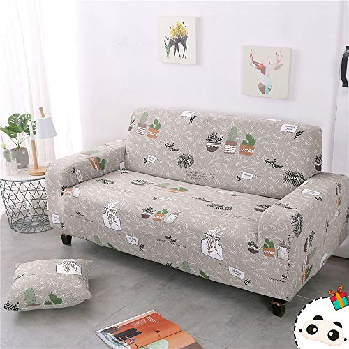EnhomeSofa Überwürfe Stretch,1 2 3 4SitzerSchonbezug Sofa Elastische Sofabezug Schonbezug für Sofa Spandex mitArmlehne Antirutsch Sofahussen Couchbezug (Topfpflanzen,2 Sitzer(145-185cm))