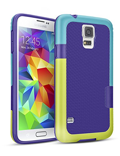 TILL for Galaxy S5 Case, TILL(TM) Ultra Slim 3 Color Hybrid Impact Anti-Slip Shockproof Soft TPU Hard PC Bumper Extra Front Raised Lip Case Cover for Samsung Galaxy S5 I9600 GS5 G900V [Blue]