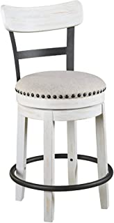 Ashley Furniture Signature Design - Valebeck Upholstered Swivel Barstool - Casual Style - Light Brown