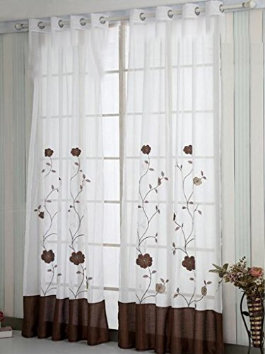 SIMPVALE 1 Pieza Cortinas Visillos Bordado Floral para Balcon, Salón, Habitación, Dormitorio y Cámara, Anchura 140 cm, Marrón, Altura 245cm