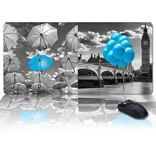 Große Gaming-Mauspad Full Desk Pad-Blaue Brücke mit blauem Regenschirm Spaziergänge auf dem gelben Bürgersteig der Straße, rutschfeste Gummibasis Ergonomische XXL-Tastaturmatte für Laptop- / Computer-
