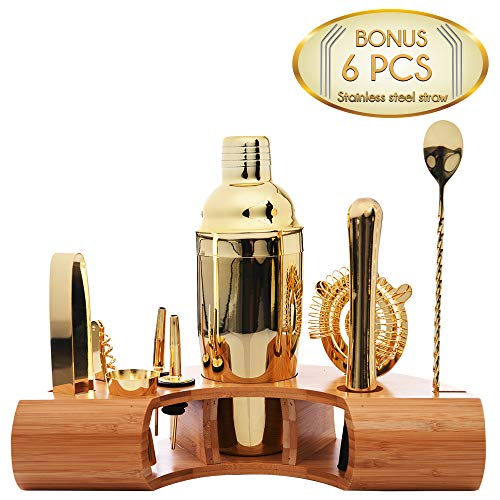 Omishome Complete Bartender Mixology Kit - Elegant Gold Finish Stainless Steel Cocktail Shaker Set with Bamboo Stand and 6 BONUS Sturdy Stainless Steel Straws - A Superb Bartending Set