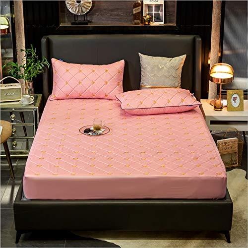 ABUKJM Protector de colchón 100% algodón, impermeable, bordado de abeja, protector de colchón acolchado doble grueso suave para cama (rosa claro, 90 x 200 x 30 cm)