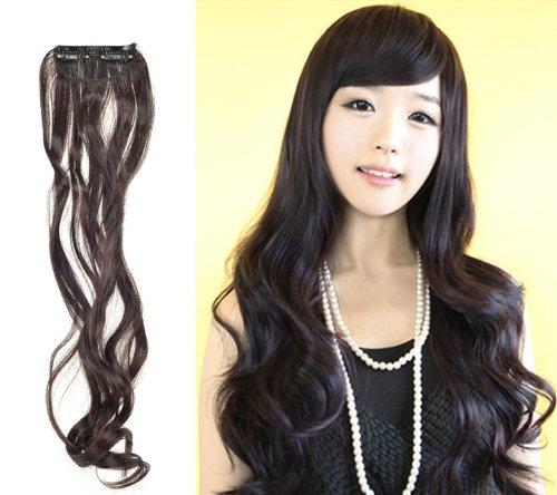 Sexy paillettes one Noir Tendance Marron Long Bouclés à clipser Cheveux Perruque synthétique à clipser pour extension de cheveux perruque 45 x 8 cm (17–3/10,2 cm X3–1/20,3 cm)