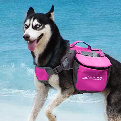 ThinkPet AdventureMore Hund Packtaschen Doppeltasche für Hound Travel Outdoor Hund Rucksack Reflektierende Satteltasche Hund Rucksack für mittelgroße Hunds Camping Wandernausrüstung, EINWEG Verpackung
