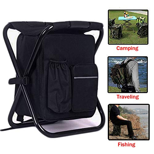 HANERDUN 3 in 1 Cooler Backpack, Foldable Fishing Chair, Portable Backpack Chair with Fabric Cooler Bag, Soft Sided Cooler Chair for Outdoor Hiking Events Beach Fishing Camping