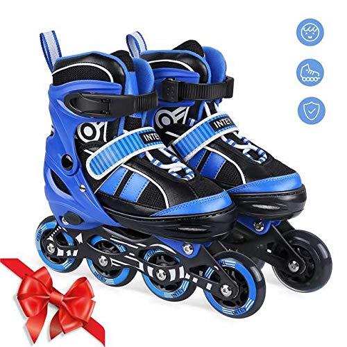 INTEY Inline Skates für Kinder, verstellbare Inline Skating geeignet für Alles Kinder, 3 Größe, Blau (M)
