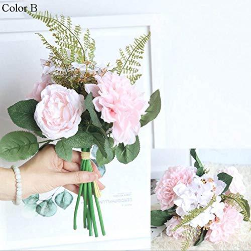 YABMF Künstliche Blumen Bouquet Dahlia Pflanzen Seidenblumen Außenhandel DIY Hochzeit Zu Hause Weihnachtsdekor Rose Blume @ B