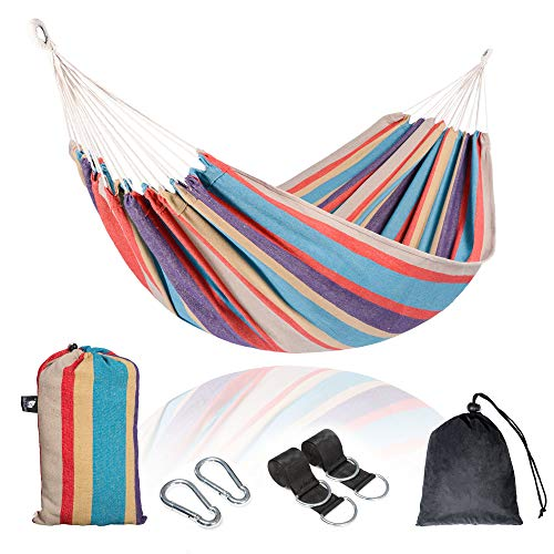 SUNCREAT Double Hammock, 98 x 59 Inches, 475 lbs Capacity, with Compression Bag, Tree Straps,...