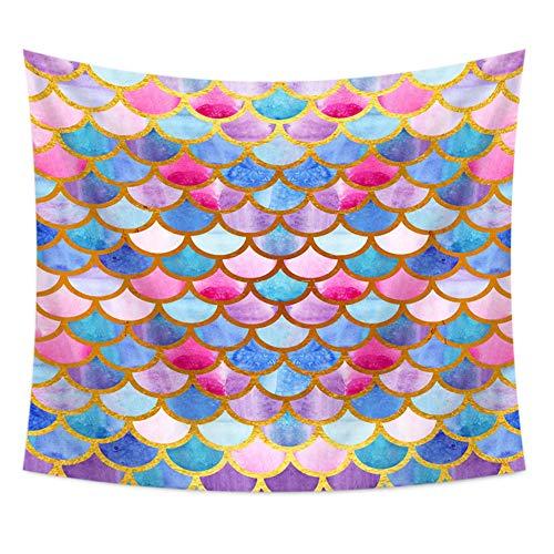 wawale TapestriesOpknoping doek Gekleurde vis schalen wanddecoratie strandhanddoek decoratieve doek 150 x 130cm