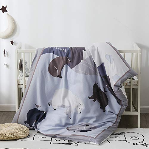 Pomco Mini Crib Bedding Set, 5PCS Bear Crib Baby Bedding Set-Includes Crib Comforter and Pillow Insert, Crib Duvet Cover, Fitted Sheet and Pillowcase, Animal Crib Bedding Set for Baby Boy Girl