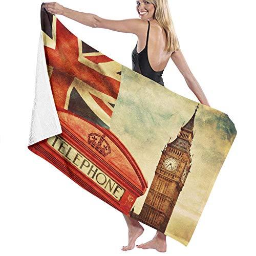 Toalla de Playa de Microfibra de Gran tamaño,Símbolos de Londres Inglaterra Cabina de Tel,Toalla de baño Absorbente Suave y Ligera para Nadar, Deportes, Piscina, Gimnasio, Camping (52 × 32 Pulgadas)