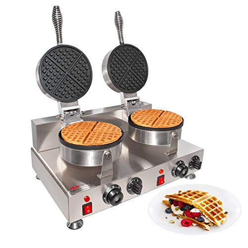 ALDKitchen Belgian Waffle Maker | Cone Maker and Waffle Iron | Round-Shape Thin Waffles | Stainless Steel | 110V (DOUBLE)