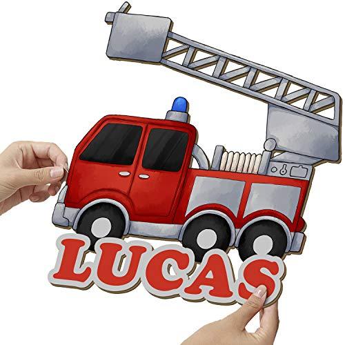 Elbeffekt Feuerwehr Wandlampe aus Holz - personalisierbares Geschenk - Geburtsgeschenk Jungen personalisierte Geschenke Jungen - Feuerwehr Geschenk aus Echtholz