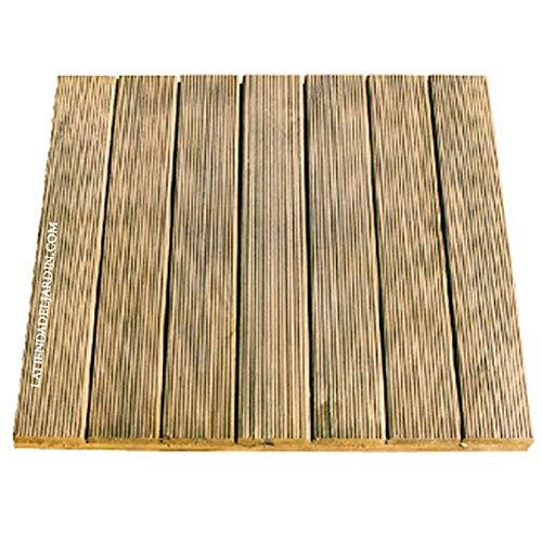 Suinga. Pack 6 x Baldosa de madera de pino recta 50x50 cm y 32mm. 6 unidades