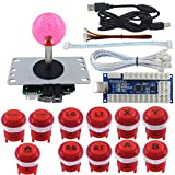 SJ@JX Arcade Game Stick DIY Kit LED Buttons with Logo 8 Way Joystick USB Encoder Cable Controller for PC PS3 PS2 MAME...