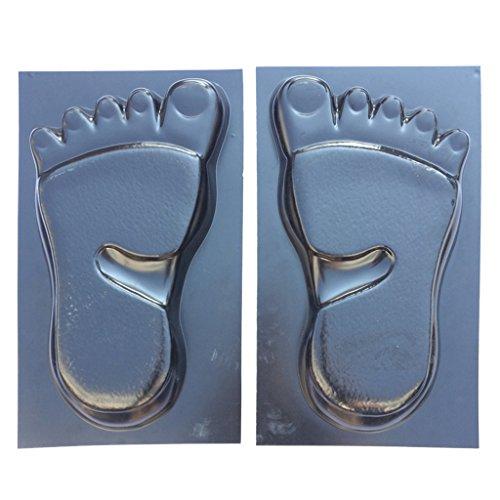 1 Paar Menschliche Füße Betonform Gehwegplatten Beton Gehweg Form, schwarz, aus ABS Kunststoff